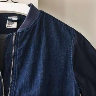 Half Denim H&M Bomber Jacket