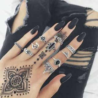 Bohemian Vintage Silver Rings