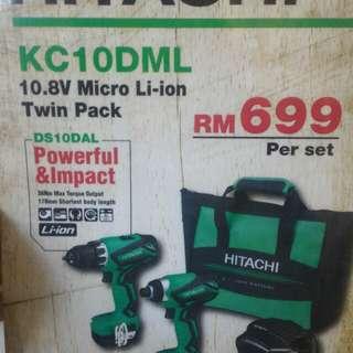 HITACHI CORDLESS DRILL & IMPACT DRILL KC10DML