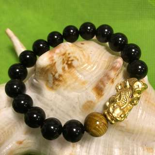 Golden Pixiu with Rainbow Eyes Obsidian Crystal Bracelet - 镀金貔貅彩虹眼黑曜石水晶手链 (10mm)