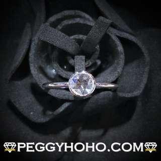【Peggyhoho】全新18K白金 ((單粒31份)) 真鑽石戒指|小清新系列 | 罕有 rose cut 切割