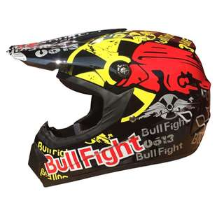 Black Bull Red Full Face Motorcycle Helmet Scrambler Motorcross Motocross Scrambler Off Road Dirt Bike