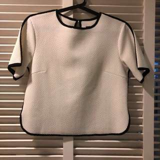 White Textured Outlined Boxy Top