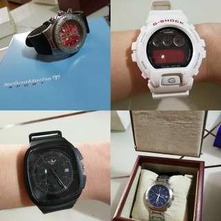 Preloved watch bundle gshock techomarine Alexander Christie adidas