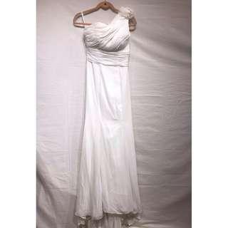 One Shoulder Floor Length Sweep Wedding Dress