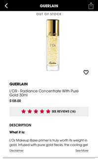 Guerlain L'OR - Radiance Concentrate with Pure Gold BNIB