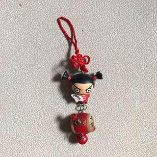 Keychain Key Holder chains holders  China doll dolls wa wa drum red