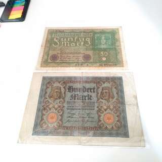 Old German banknote x2