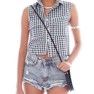 Checkered Button-Down Crop Top in Navy