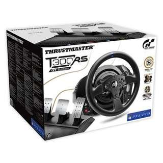 (終極豪華全配!!!) T300RS GT SPORT版賽車方向盤 + 三踏板 + 惟一摺疊車架腳架 + TH8A排檔桿  (PS4 T300RSGT)