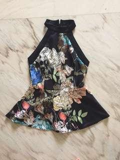 Black floral halter top like mds