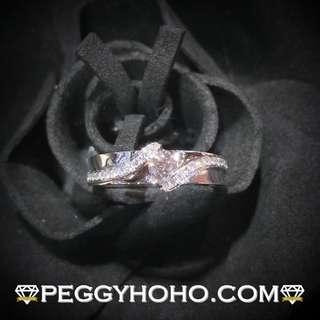 【Peggyhoho】 全新18K白金 ((單粒14份)) 鑽石配微鑲小鑽共24份鑽石戒指 CTF出品  超值型尾指戒