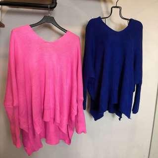 歐美風寶藍色粉紅色v領美背針織性感長袖大尺碼oversize 懶人系上衣