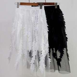 新款歐貨刺繡羽毛半身裙百搭顯瘦網紗中長裙女裙*2色