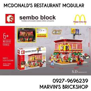 For Sale McDonald's Restaurant Modular with Lights Building Blocks Toy