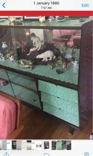 Green Formica Vintage Display Cupboard