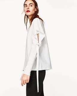 NEW Zara Long-Sleeved Top with ties