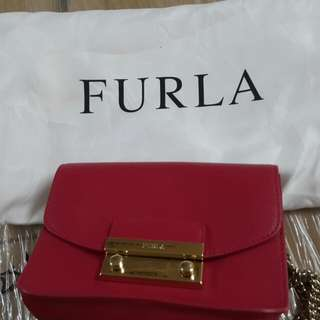 Furla Red Color Leather Cross Body Handbag 90%New