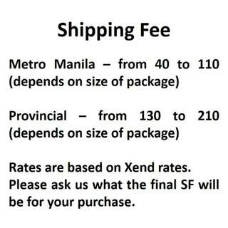 Updated shipping fee
