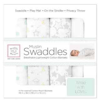 SwaddleDesigns 4 Piece Muslin Swaddle Blankets, Goodnight Starshine