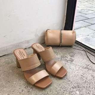 🔱歐美時尚🔱粗跟 一字拖 高跟涼鞋 高跟拖鞋 楔形涼拖鞋