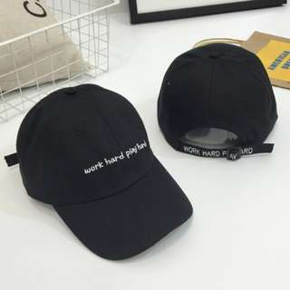 WORK HARD PLAY HARD BLACK CAP, BRAND NEW UNISEX CAP (READY STOCK)