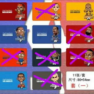 (得返5張)NBA明星球隊徽標誌LOGO八達通卡貼  Stephen Curry Kobe Bryant Leborn James Chris Paul Anthony Parker James Harden Dwyane Wade Carmelo Anthony Zach Randolph Russell Westbrook Kevin Durant