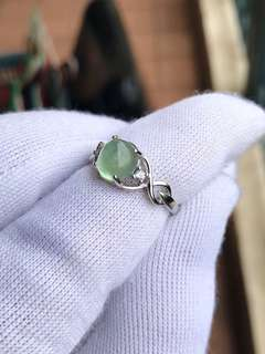 Prehnite sterling silver ring  葡萄石银戒指