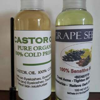 Bundle Castor Seed Oil and Grape Sees Oil