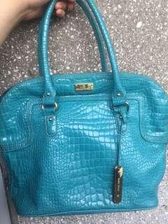 Nine West Turquoise Aqua Blue Embossed Alligator Croc Bag