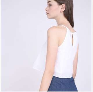 RWB WHITE BASIC CROP TOP