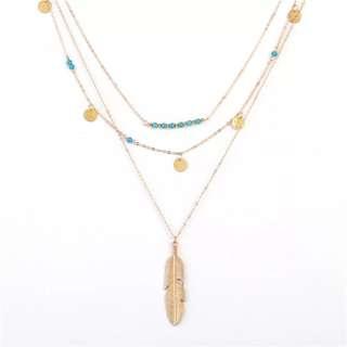 歐美 飾物 頸鏈 簡約綠松石珠亮片多層項鍊 時尚百塔簡約潮