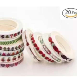 20 Rolls Washi Tape Set,Arts,Crafts,DIY,colored masking tape is fit boys girls Wide Decorative Masking Tape,Festival Gift Wrapping Party Supplies