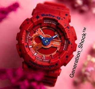 NEW🌟ARRIVAL CASIO BABYG DIVER WATCH : 1-YEAR OFFICIAL WARRANTY: 100% ORIGINAL BABY-G shock resistant Twilights Stars in DEEP RED ROSE COLOUR Resin Band ABSOLUTELY TOUGHNESS Best Gift For Most Rough Users : BA-110ST-4ADR / BA110ST / BA-110 / BA110