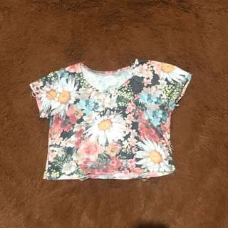 Flowery Ripped Crop Top