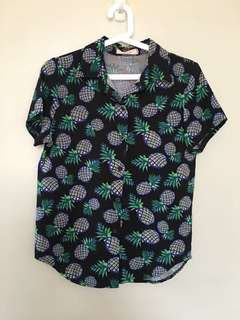GTW Fab Button Down Pineapple Printed Top
