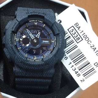 RARE🌟SEEN CASIO BABYG DIVER WATCH : 1-YEAR OFFICIAL WARRANTY: 100% Originally Authentic BABY-G-SHOCK RESISTANT In DENIM BLUE JEANS COLOUR WATCH in Stealth Matt Resin Strap Band Best Gift For Most Rough Users & Unisex: BA-110DC / BA-110 / BA110DC