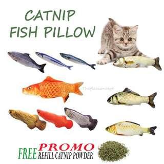 FREE NM , FREE POSTAGE & FREE CATNIP POWDER - FISH PILLOW / CAT TOY