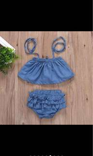 Denim jeans baby infant newborn toddler top pants set crop top