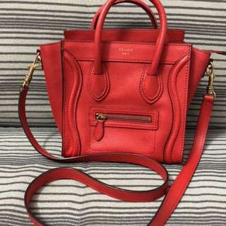 Celine Nano Luggage in Red 荔枝牛皮