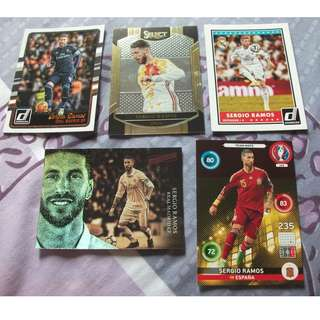 Sergio Ramos trading cards for sale/trade (Lot of 5 cards)