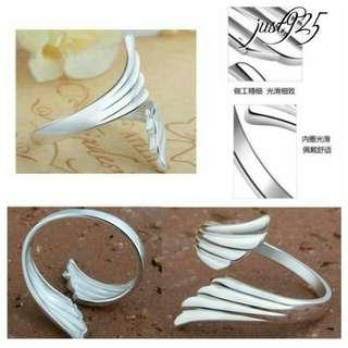S925 Sterling Silver Angel Wings Ring