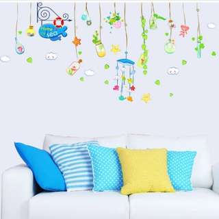 Drift bottle Ocean song Sticker Living room Bedroom TV sofa Background Wall Stickers Glass window stickers Home decor