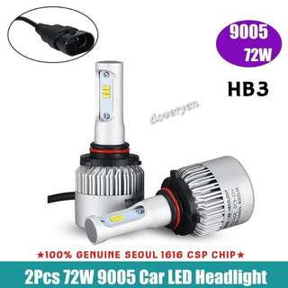 HB3 9005 CSP Led Headlight Bulb  ★Car Van Fog / Headlight Usage  ★100% Genuine Seoul 1616     CSP Chip      2 Sided x 12 Leds      ★Ultra Bright      Built-in Driver + Constant Current   ★Mini Size      Plug & Play  ★6.5k White      8000lm 72w  In Stock