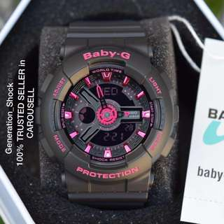 RARE🌟SEEN CASIO-BABYG DIVER WATCH : 1-YEAR OFFICIAL WARRANTY : 100% Originally Authentic BABY-G-Shock resistant ABSOLUTELY TOUGHNESS In Deep Black Matt Stealth added with Pink Purplish BEST GIFT For Most Rough Users: BA-111-1ADR / BA-110