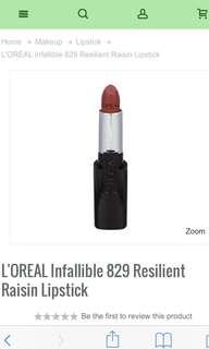 L'Oréal Infallible Lipstick in 'Resilient Raisin' (No. 829)