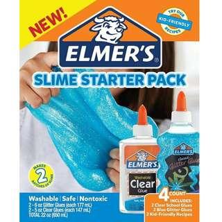 BNIB: Elmer's Glue Slime Starter Kit, Clear School Glue and Blue Glitter Glue, 4 Count