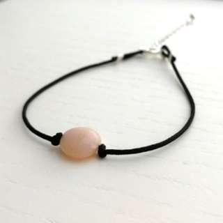 Natural pink opal bracelet (black string)