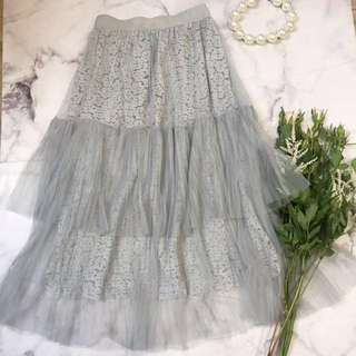 Made in Korea Grey Blue Floral Lace Layers Tulle Skirt