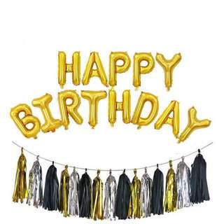 Happy Birthday Balloon and Tassel Garlands